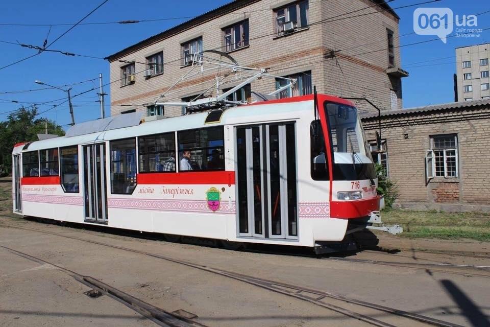 Первый собранный в Запорожье трамвай выехал на маршруты города на испытания, — ФОТО, фото-1