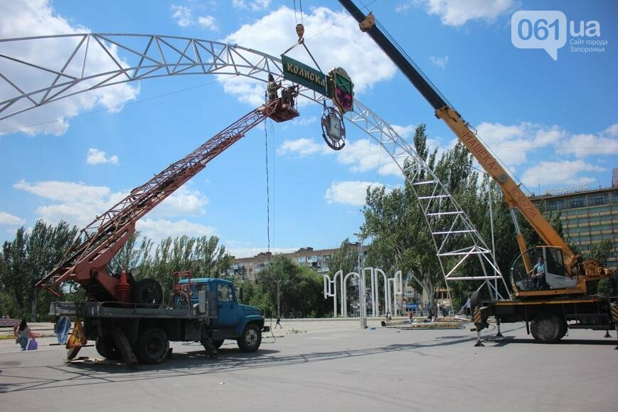 В Запорожье на площади Фестивальной начали монтировать вывеску за полмиллиона гривен, - ФОТОРЕПОРТАЖ, фото-14