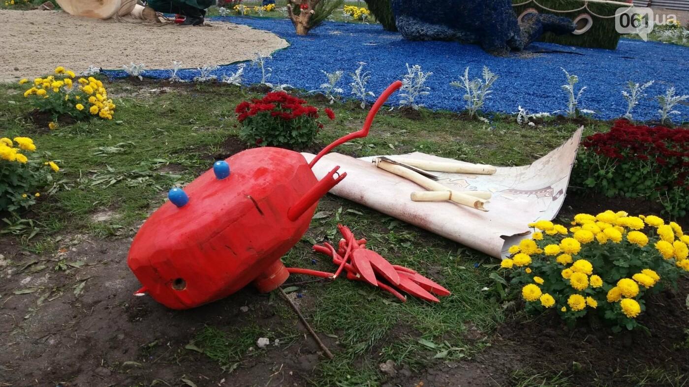 Покалеченный козак, сломанный конь и украденные цветы: запорожцы затоптали цветочные композиции ко Дню города, — ФОТОРЕПОРТАЖ, фото-5