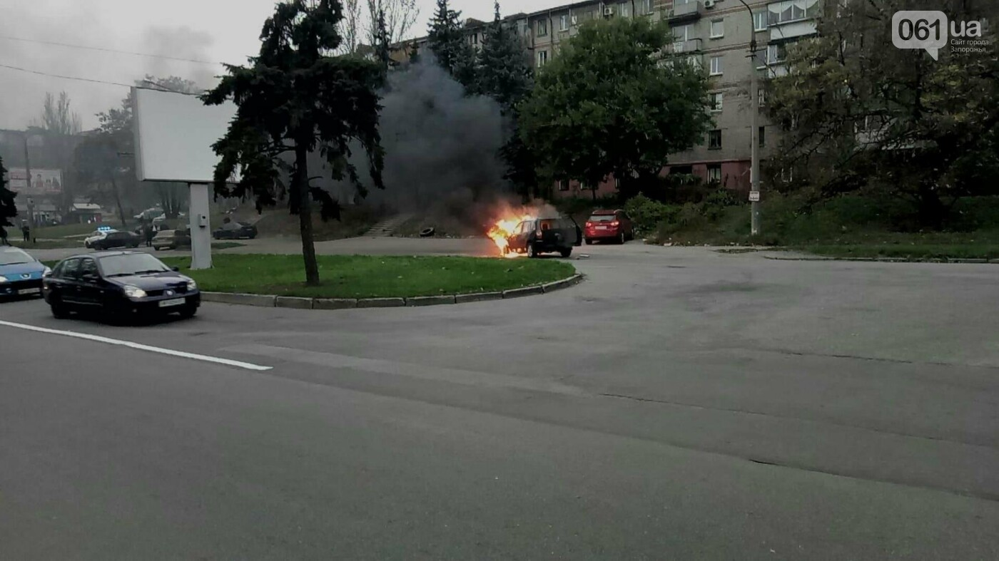 В Запорожье посреди дороги загорелся автомобиль, - ФОТО , фото-1