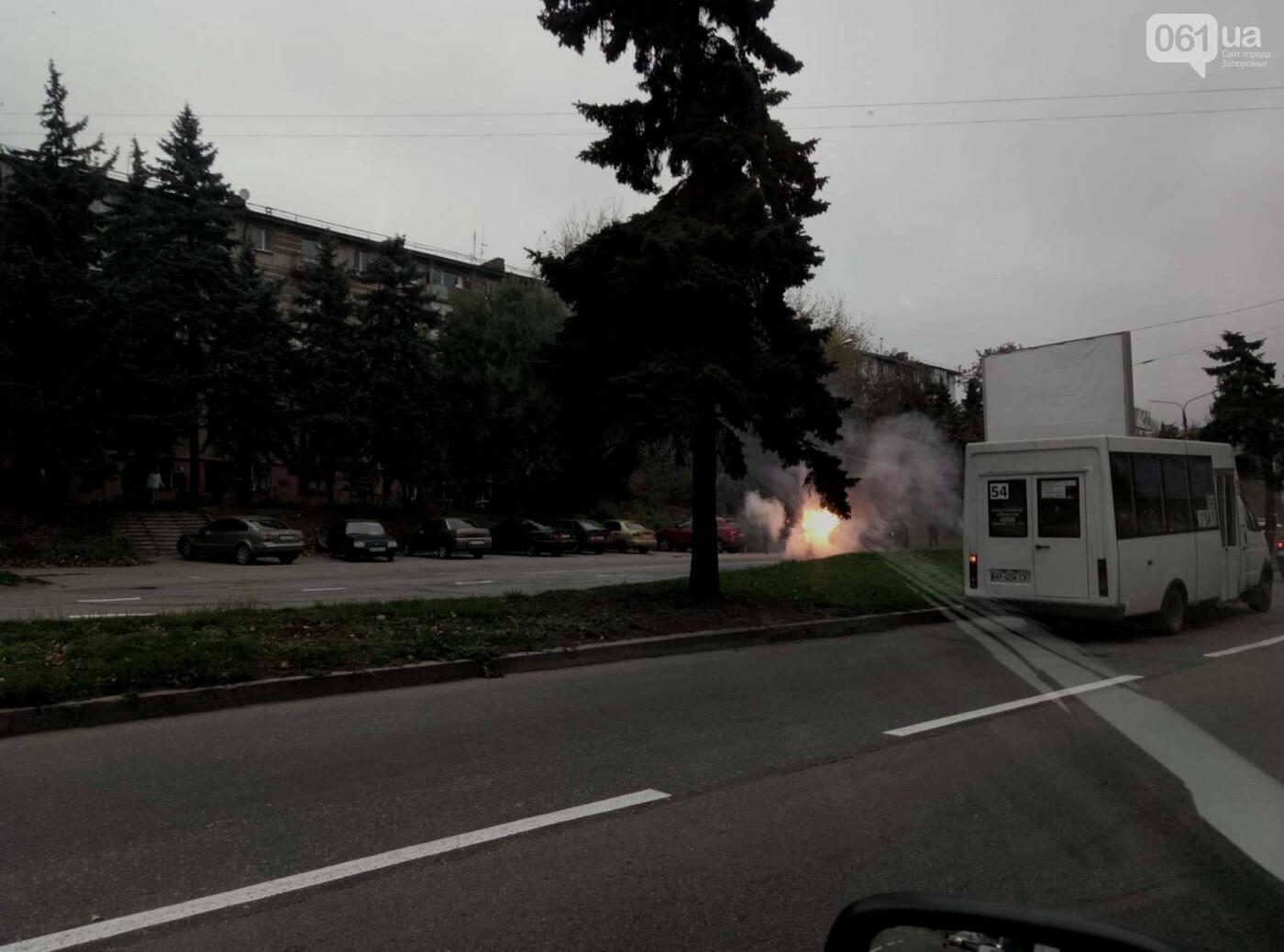 В Запорожье посреди дороги загорелся автомобиль, - ФОТО , фото-2