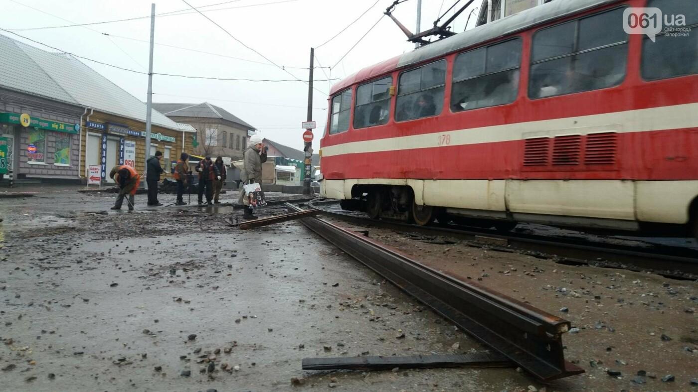 В Запорожье посреди рынка меняют трамвайные пути, – ФОТОРЕПОРТАЖ, фото-7