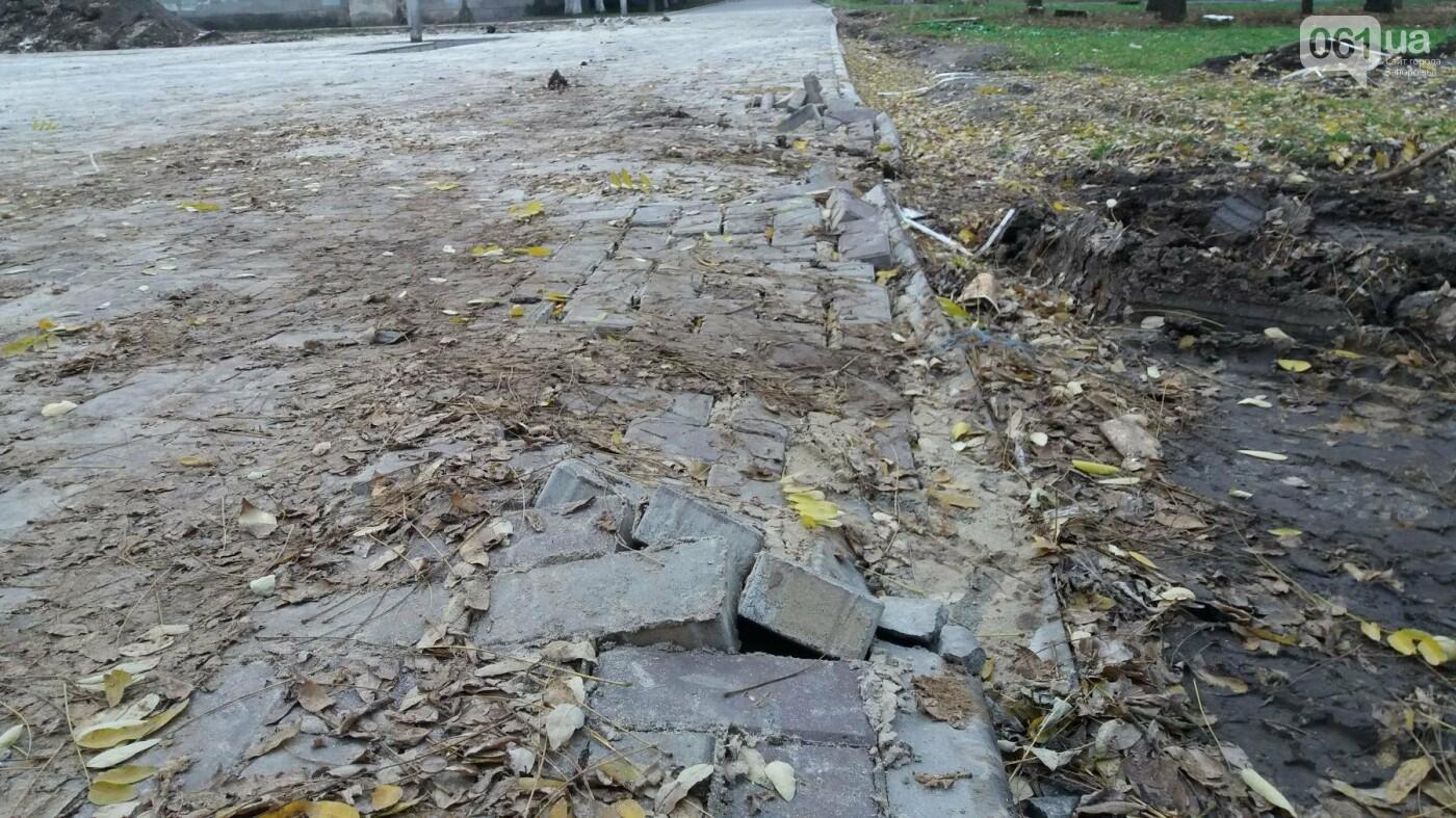 В Запорожье подрядчики разрушили бетономешалкой уже отремонтированный тротуар, – ФОТОРЕПОРТАЖ, фото-8