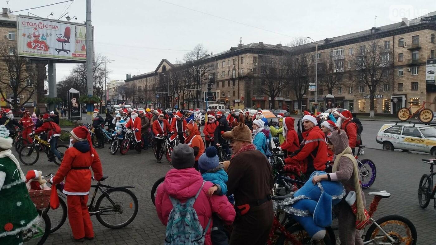 «Дед Мороз рулит!»: запорожские велосипедисты устроили новогодний велопробег, – ФОТОРЕПОРТАЖ, фото-14