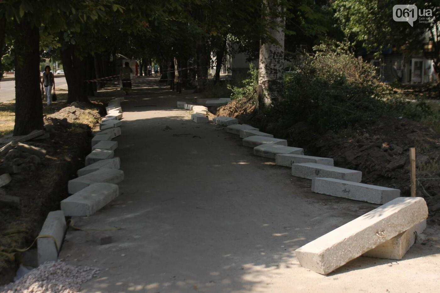 На Якова Новицкого в Запорожье возобновили реконструкцию пешеходной аллеи: обещают закончить до конца лета, – ФОТОРЕПОРТАЖ, фото-11