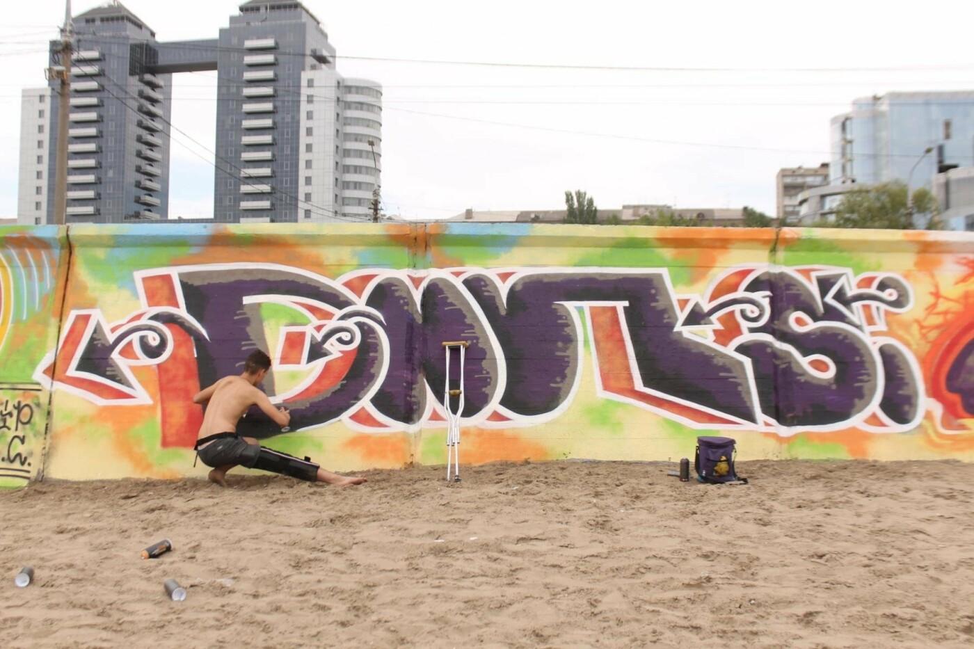 В Запорожье на пляже закончился фестиваль граффити: разрисовали 150 метров бетонной стены, – ФОТОРЕПОРТАЖ, фото-6