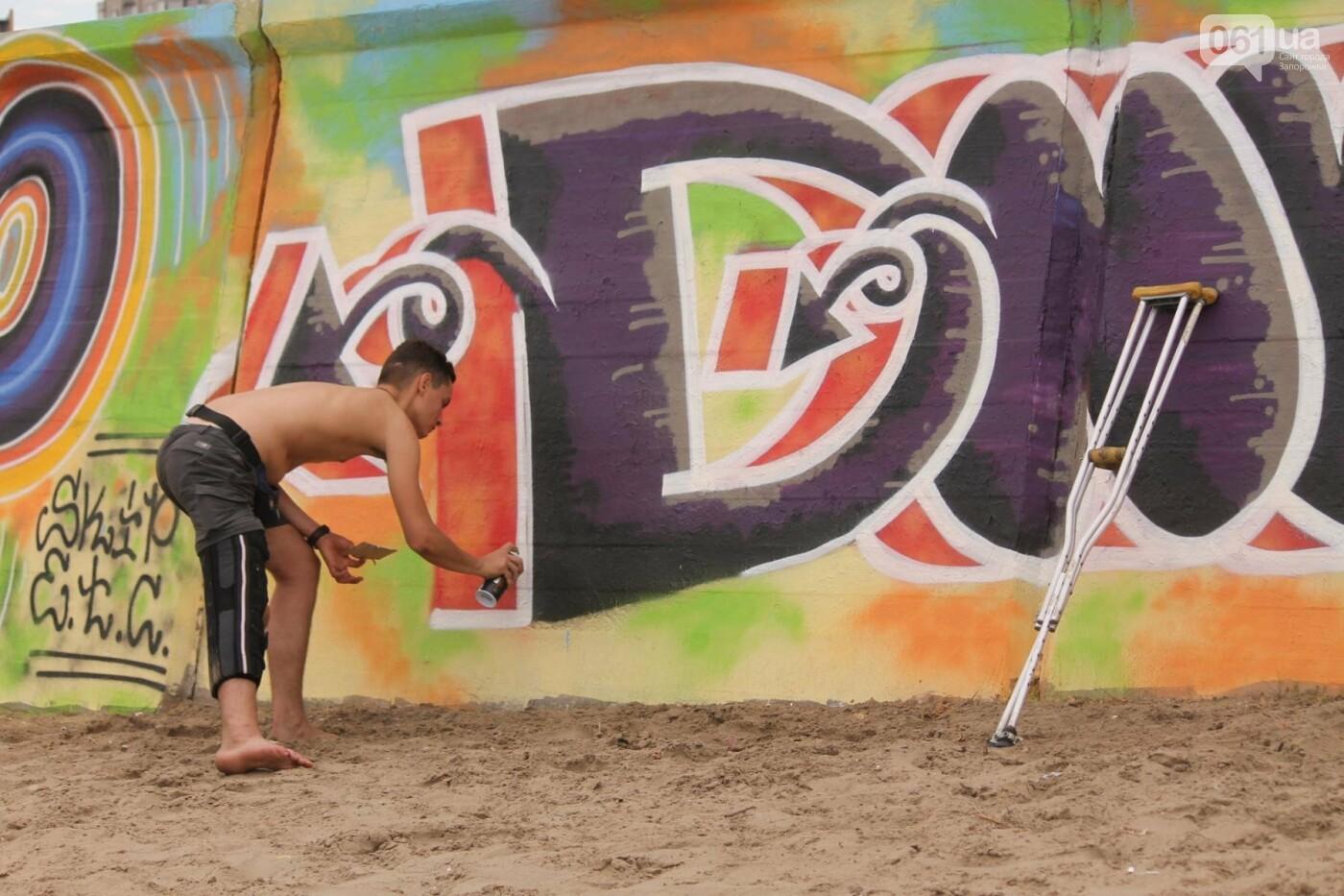 В Запорожье на пляже закончился фестиваль граффити: разрисовали 150 метров бетонной стены, – ФОТОРЕПОРТАЖ, фото-13