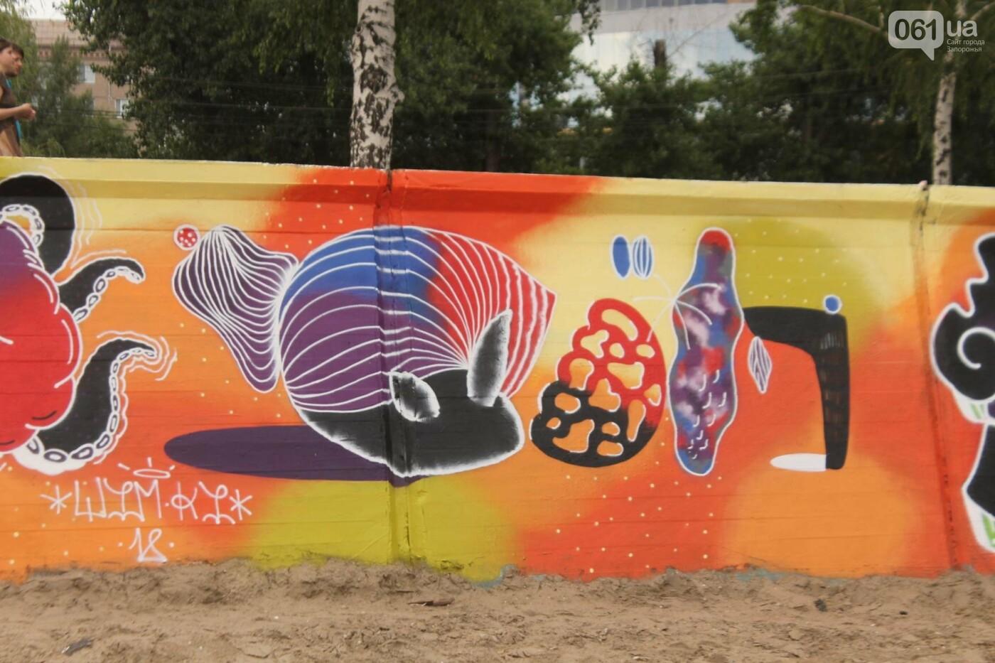 В Запорожье на пляже закончился фестиваль граффити: разрисовали 150 метров бетонной стены, – ФОТОРЕПОРТАЖ, фото-11