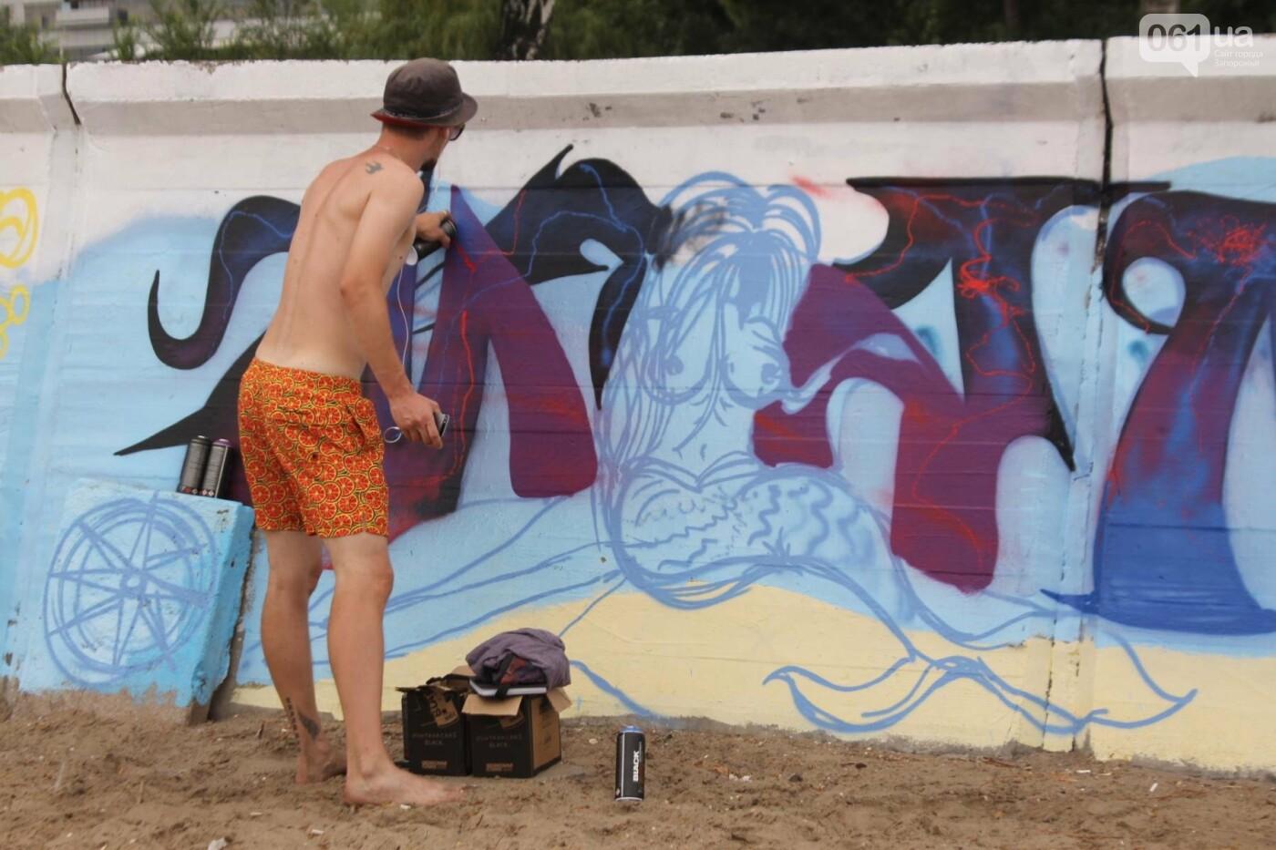 В Запорожье на пляже закончился фестиваль граффити: разрисовали 150 метров бетонной стены, – ФОТОРЕПОРТАЖ, фото-4