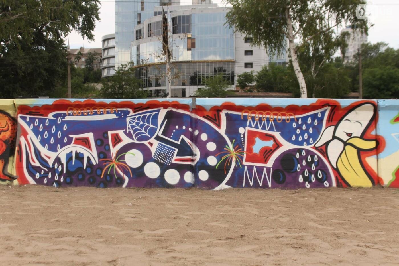В Запорожье на пляже закончился фестиваль граффити: разрисовали 150 метров бетонной стены, – ФОТОРЕПОРТАЖ, фото-20