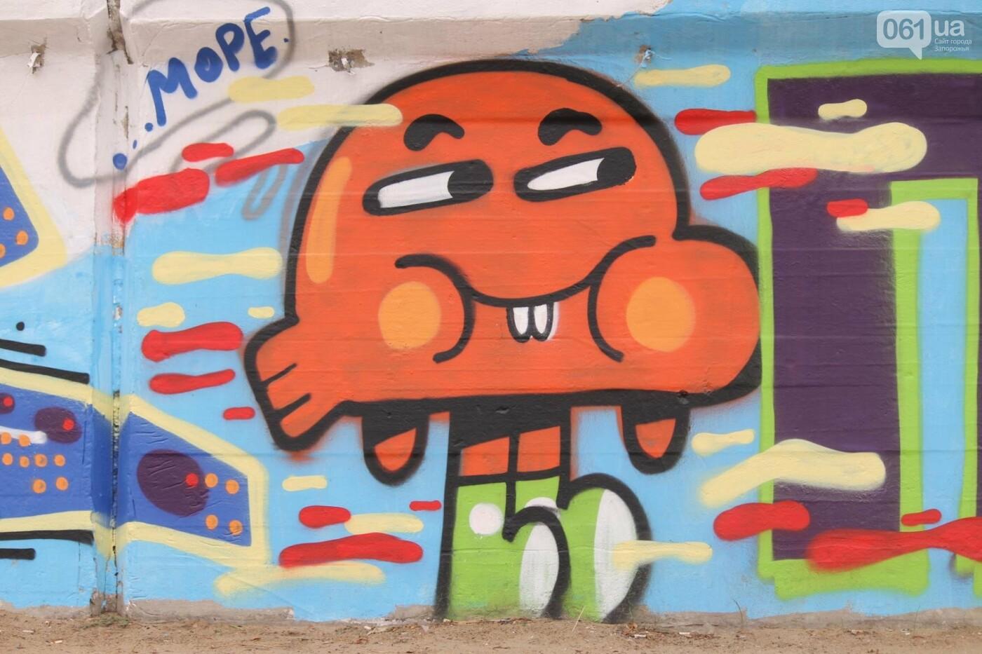 В Запорожье на пляже закончился фестиваль граффити: разрисовали 150 метров бетонной стены, – ФОТОРЕПОРТАЖ, фото-22
