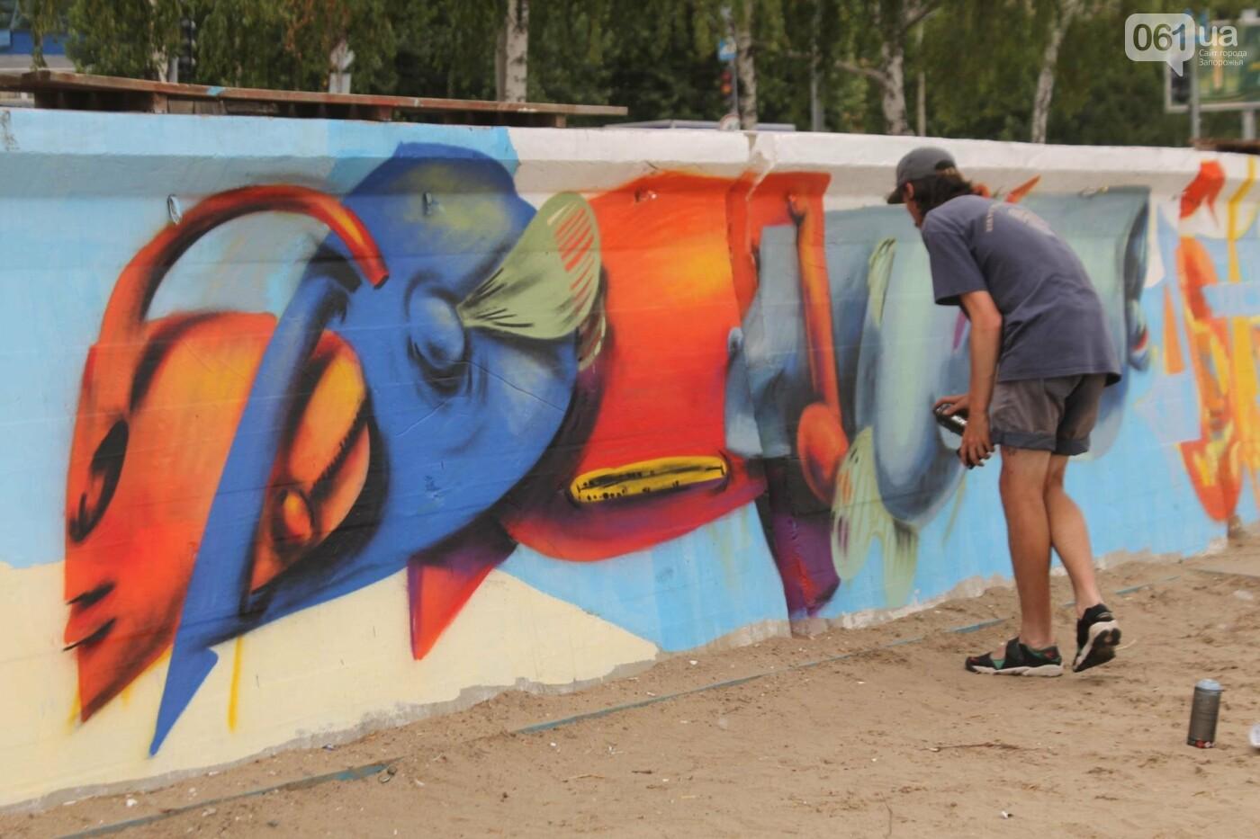 В Запорожье на пляже закончился фестиваль граффити: разрисовали 150 метров бетонной стены, – ФОТОРЕПОРТАЖ, фото-29