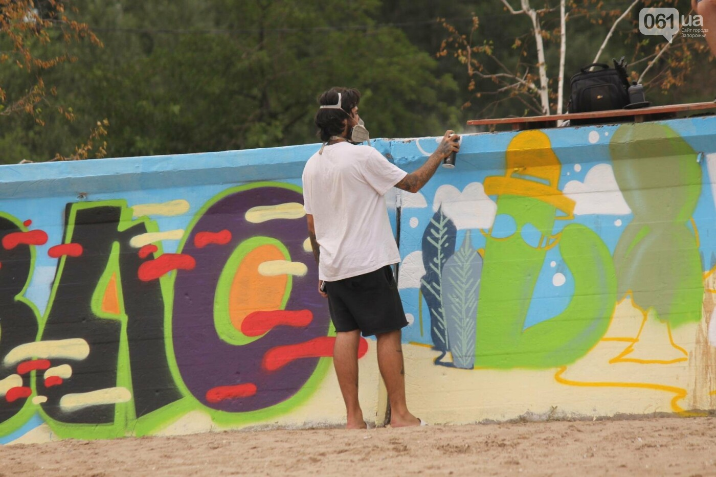 В Запорожье на пляже закончился фестиваль граффити: разрисовали 150 метров бетонной стены, – ФОТОРЕПОРТАЖ, фото-33