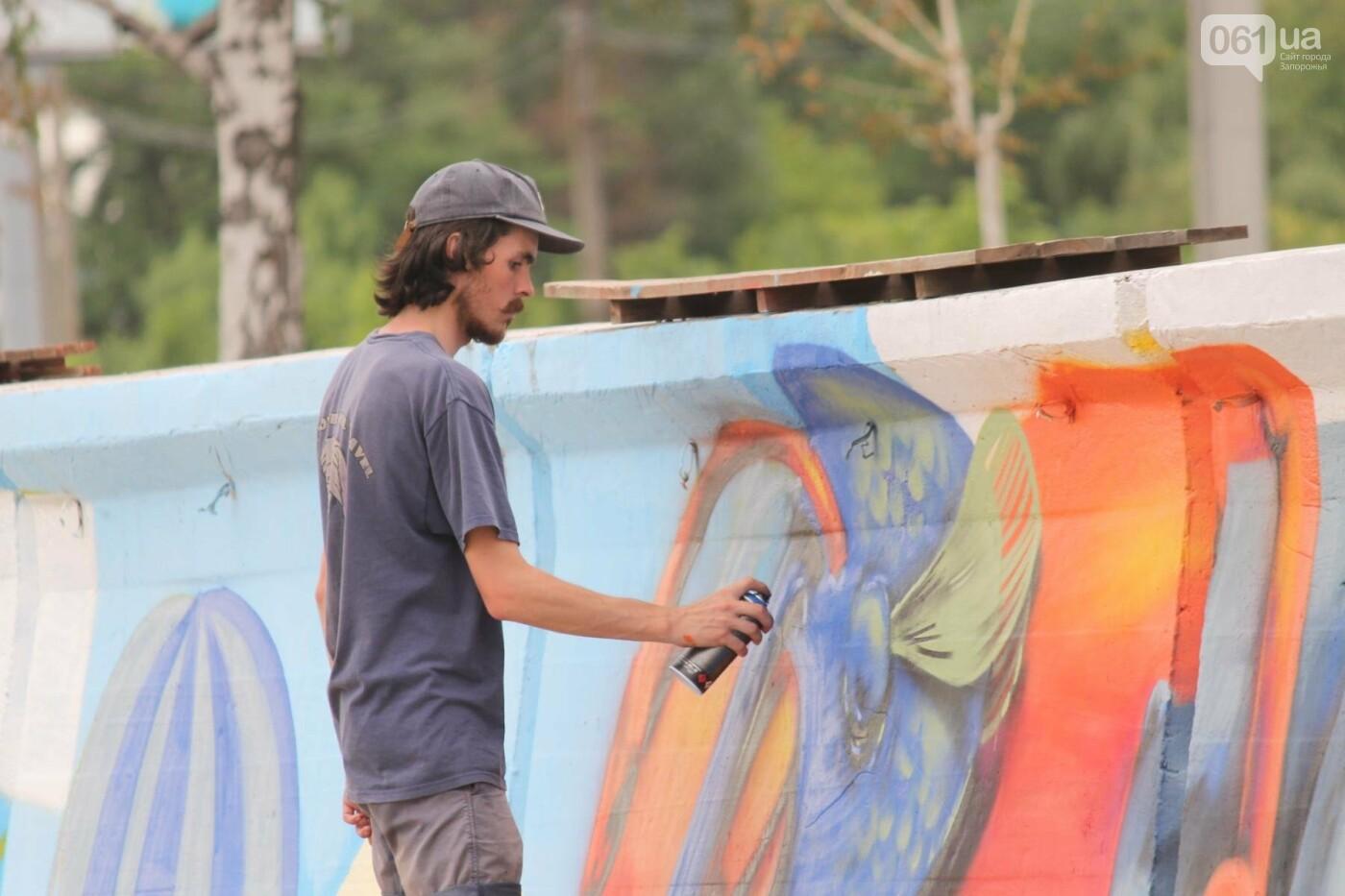 В Запорожье на пляже закончился фестиваль граффити: разрисовали 150 метров бетонной стены, – ФОТОРЕПОРТАЖ, фото-30