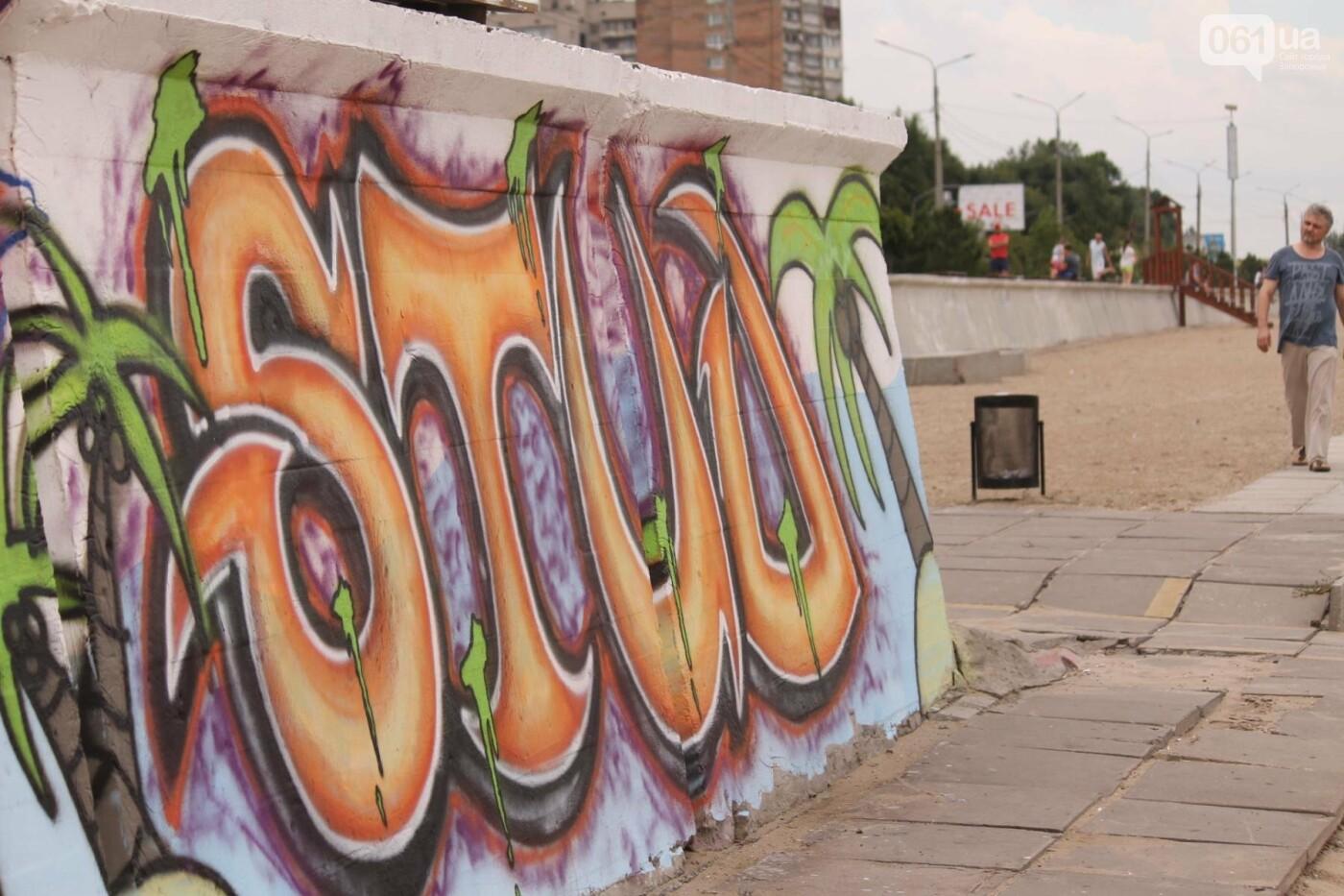В Запорожье на пляже закончился фестиваль граффити: разрисовали 150 метров бетонной стены, – ФОТОРЕПОРТАЖ, фото-42