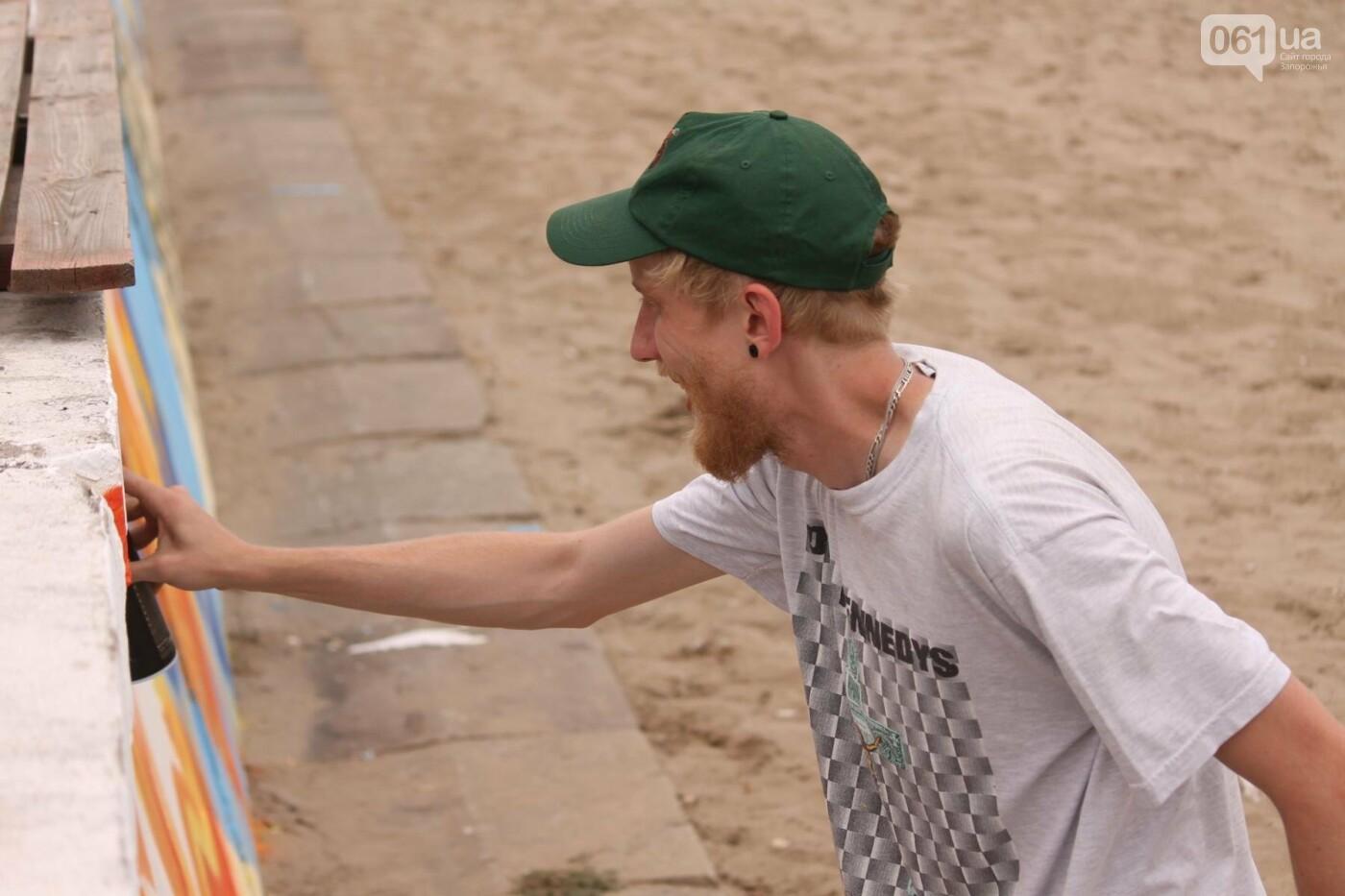 В Запорожье на пляже закончился фестиваль граффити: разрисовали 150 метров бетонной стены, – ФОТОРЕПОРТАЖ, фото-25