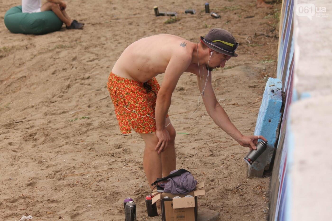 В Запорожье на пляже закончился фестиваль граффити: разрисовали 150 метров бетонной стены, – ФОТОРЕПОРТАЖ, фото-44