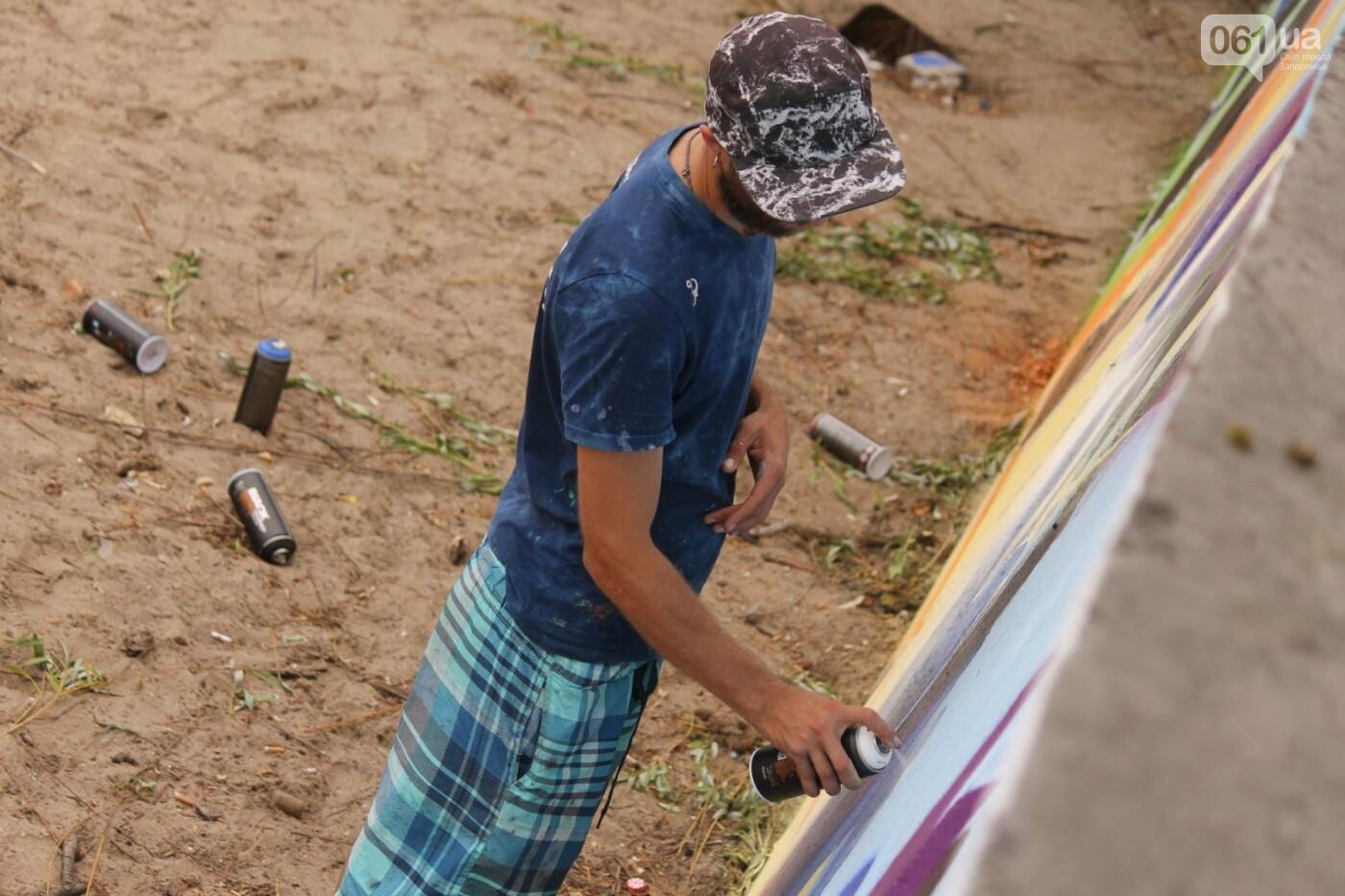 В Запорожье на пляже закончился фестиваль граффити: разрисовали 150 метров бетонной стены, – ФОТОРЕПОРТАЖ, фото-39