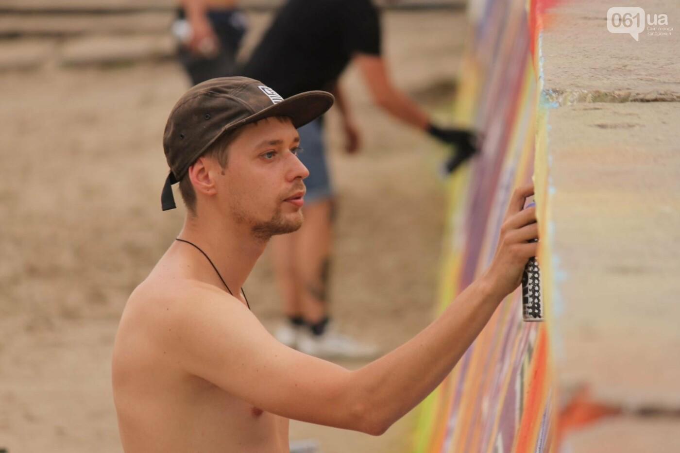 В Запорожье на пляже закончился фестиваль граффити: разрисовали 150 метров бетонной стены, – ФОТОРЕПОРТАЖ, фото-23