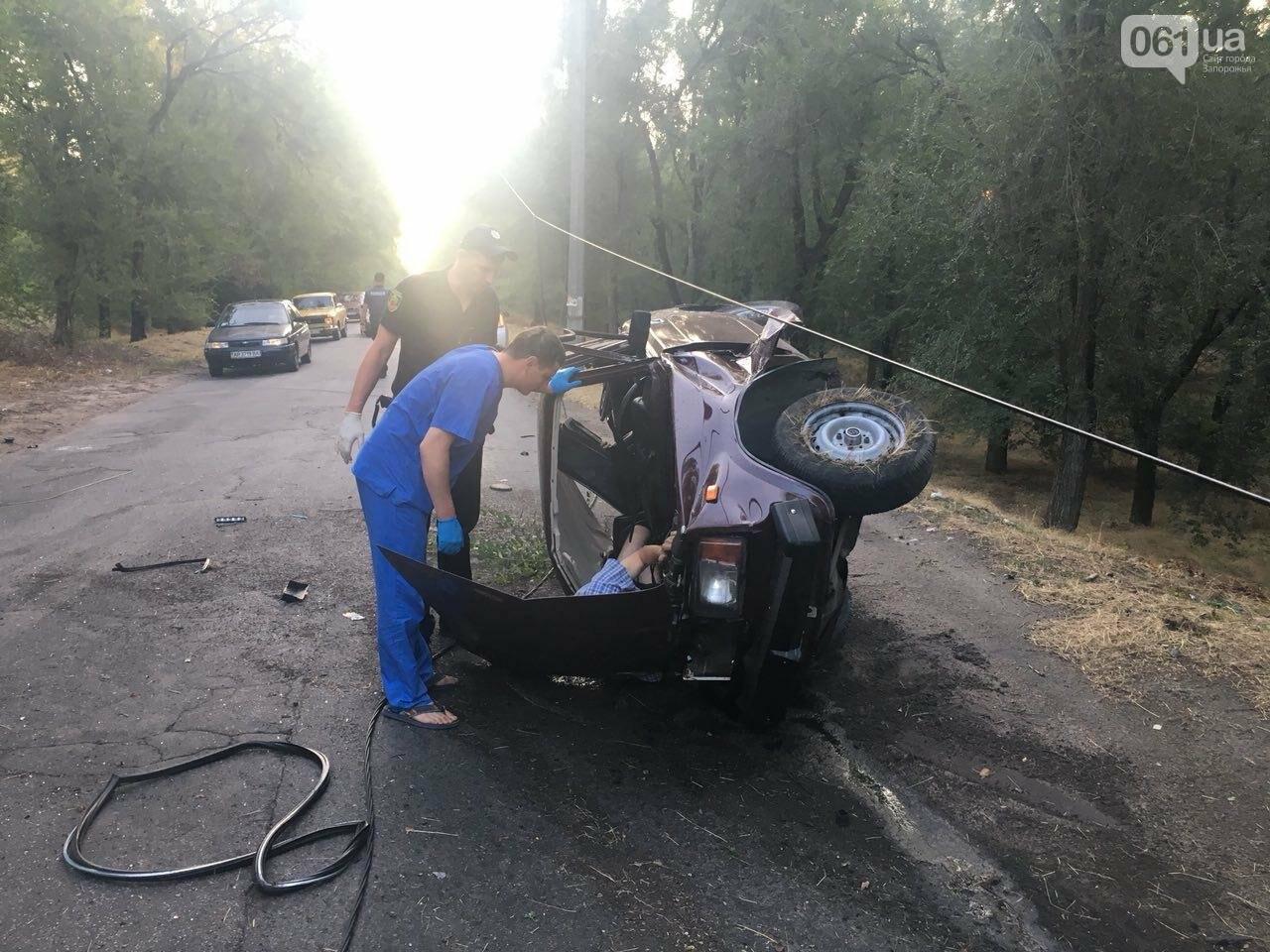 В Запорожье мужчина напился после ссоры с женой и сел за руль - авто перевернулось, - ФОТО, фото-1