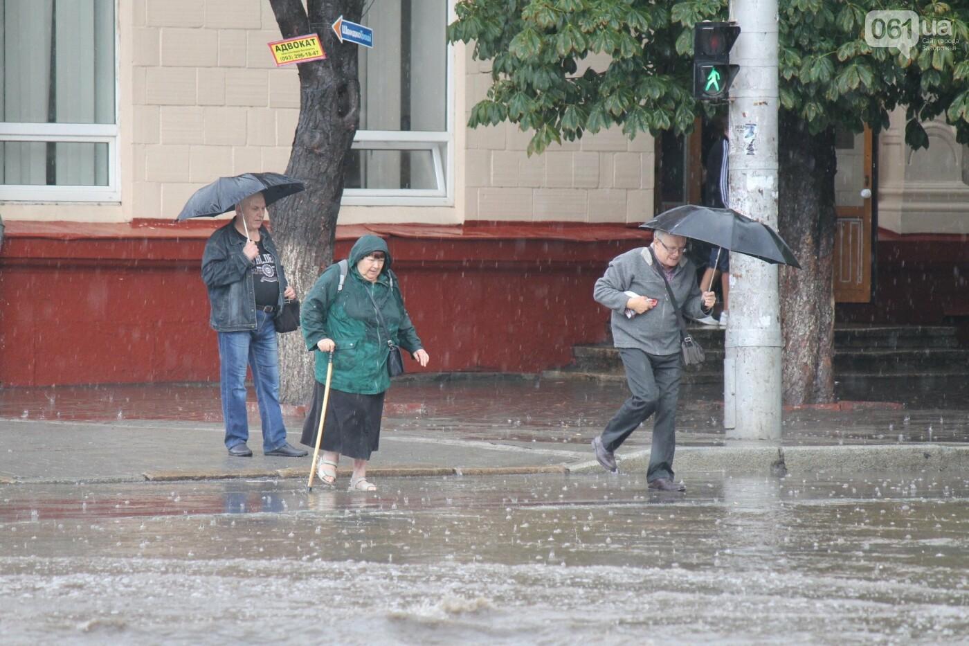 Запорожье накрыл мощный ливень: улицы затопило, люди насквозь промокли, – ФОТОРЕПОРТАЖ, фото-4