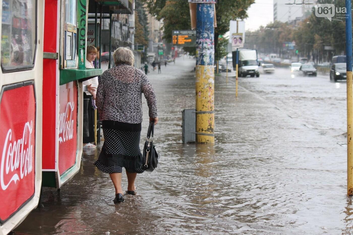 Запорожье накрыл мощный ливень: улицы затопило, люди насквозь промокли, – ФОТОРЕПОРТАЖ, фото-9