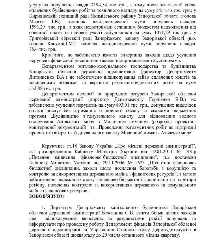 Госаудиторы нашли многомиллионые нарушения, связанные с освоением бюджета: в Запорожской ОГА не торопятся их устранять, фото-2