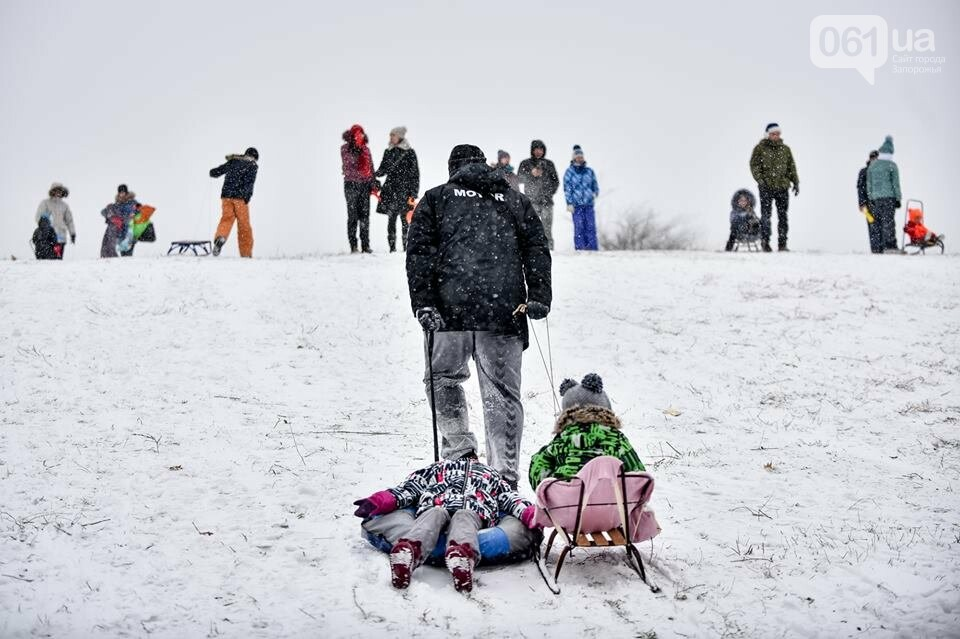 Снежное Запорожье и детвора на санках, - ФОТОРЕПОРТАЖ, фото-37