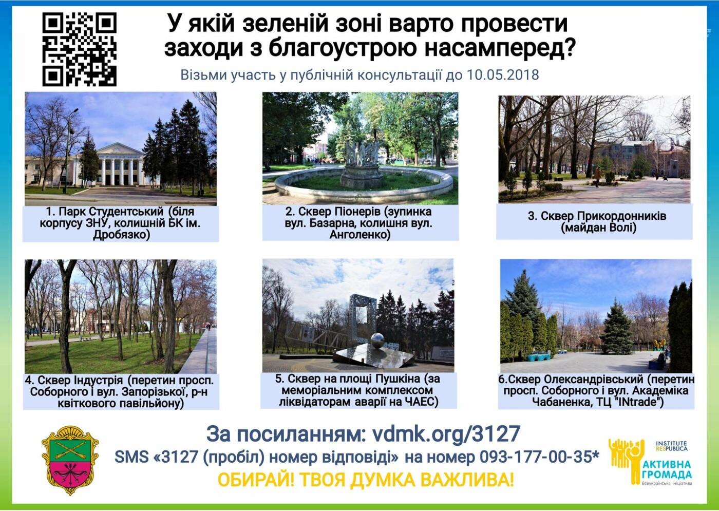 Какую зеленую зону в Запорожье нужнее всего благоустроить, - ГОЛОСОВАНИЕ, фото-1