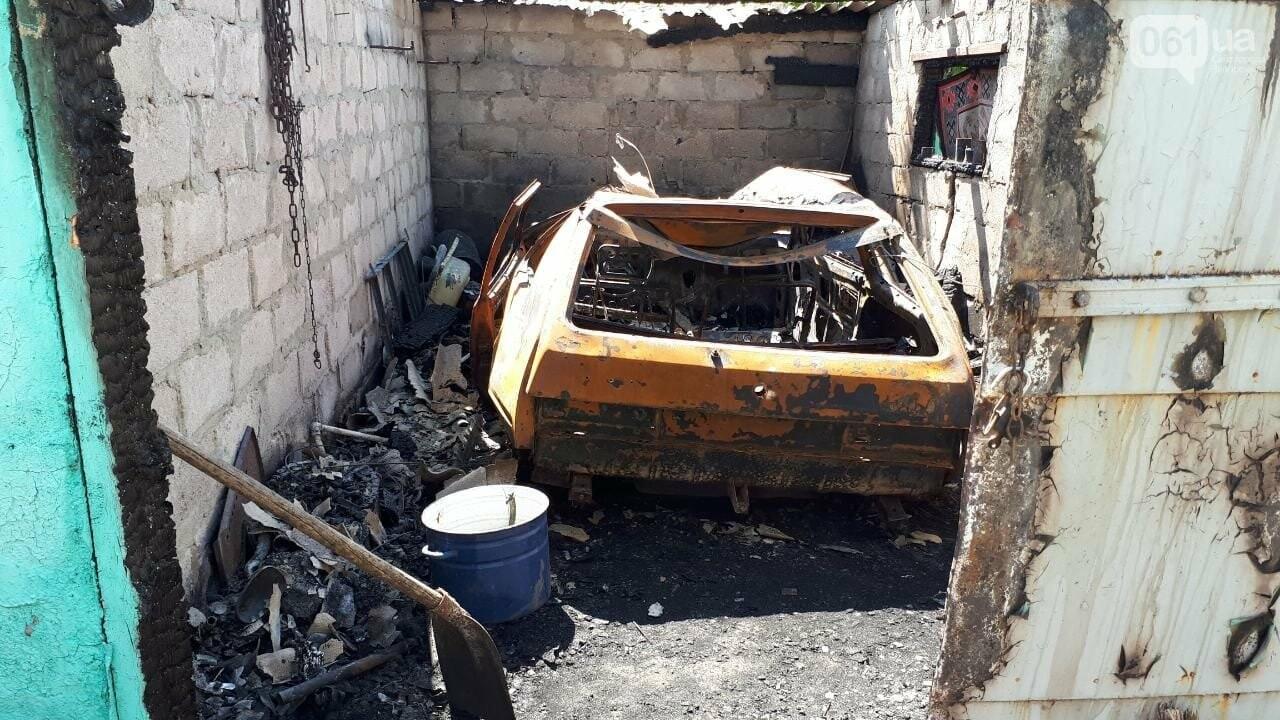 В Бердянском районе из-за короткого замыкания сгорел автомобиль - пламя перекинулось на крышу гаража, - ФОТО, фото-1