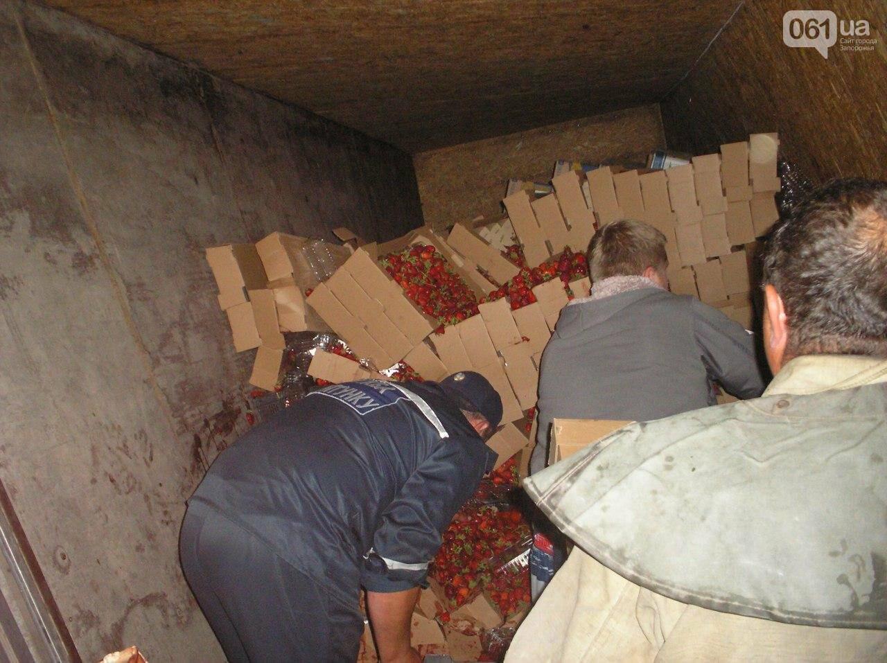 В Запорожской области перевернулся грузовик, в котором было 5 тонн клубники, - ФОТО, фото-1