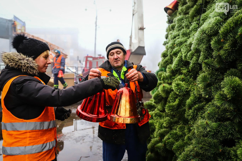 500 шаров и 25 гирлянд: на площади Маяковского наряжают главную елку Запорожья, - ФОТОРЕПОРТАЖ, фото-11