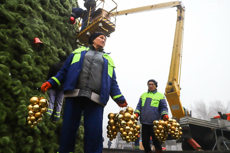 500 шаров и 25 гирлянд: на площади Маяковского наряжают главную елку Запорожья, - ФОТОРЕПОРТАЖ, фото-21