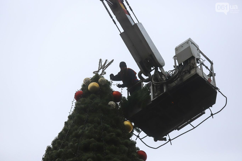 500 шаров и 25 гирлянд: на площади Маяковского наряжают главную елку Запорожья, - ФОТОРЕПОРТАЖ, фото-33