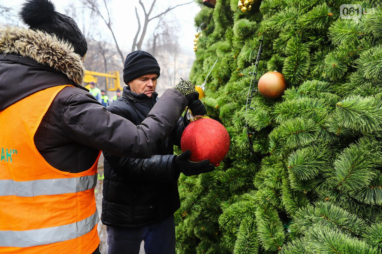 500 шаров и 25 гирлянд: на площади Маяковского наряжают главную елку Запорожья, - ФОТОРЕПОРТАЖ, фото-28