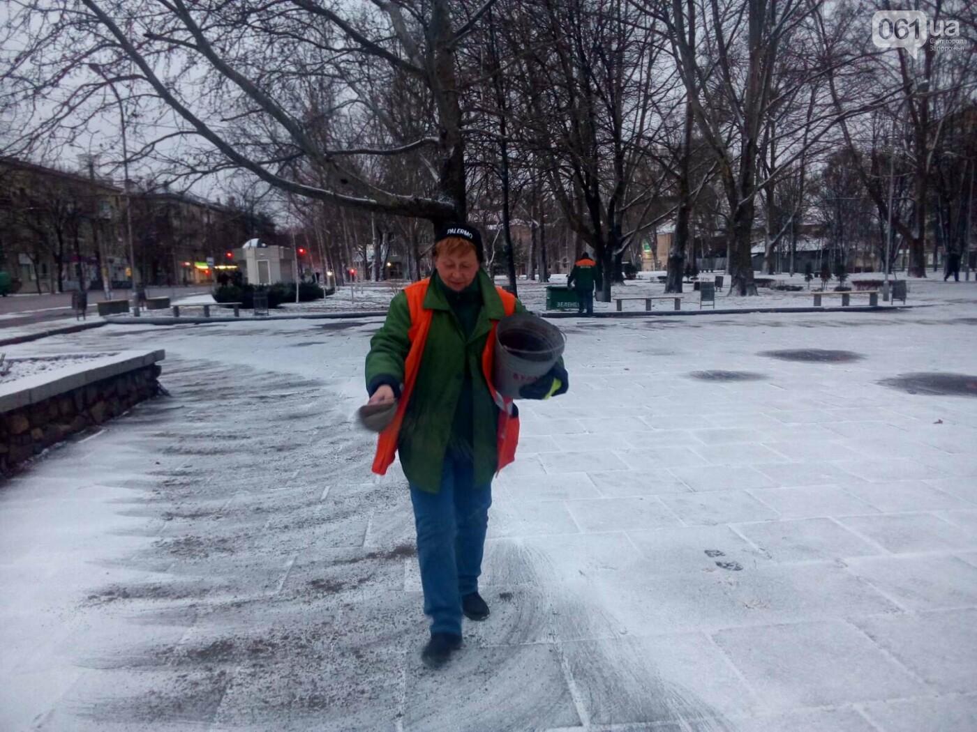 На тротуары и дороги Запорожья коммунальщики высыпали более 800 тонн антигололедной смеси , фото-4