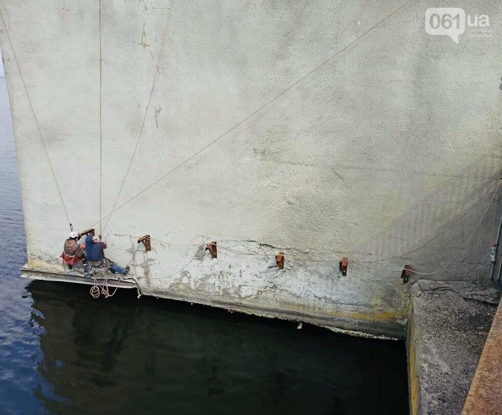 В Запорожье начали ремонт быков плотины ДнепроГЭС и съезда с моста Преображенского, фото-1