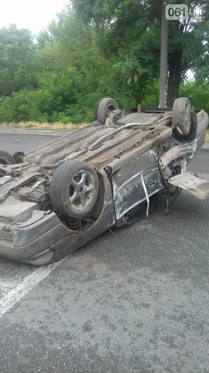 В Запорожье на Кичкасе перевернулся автомобиль, - ФОТО, фото-1