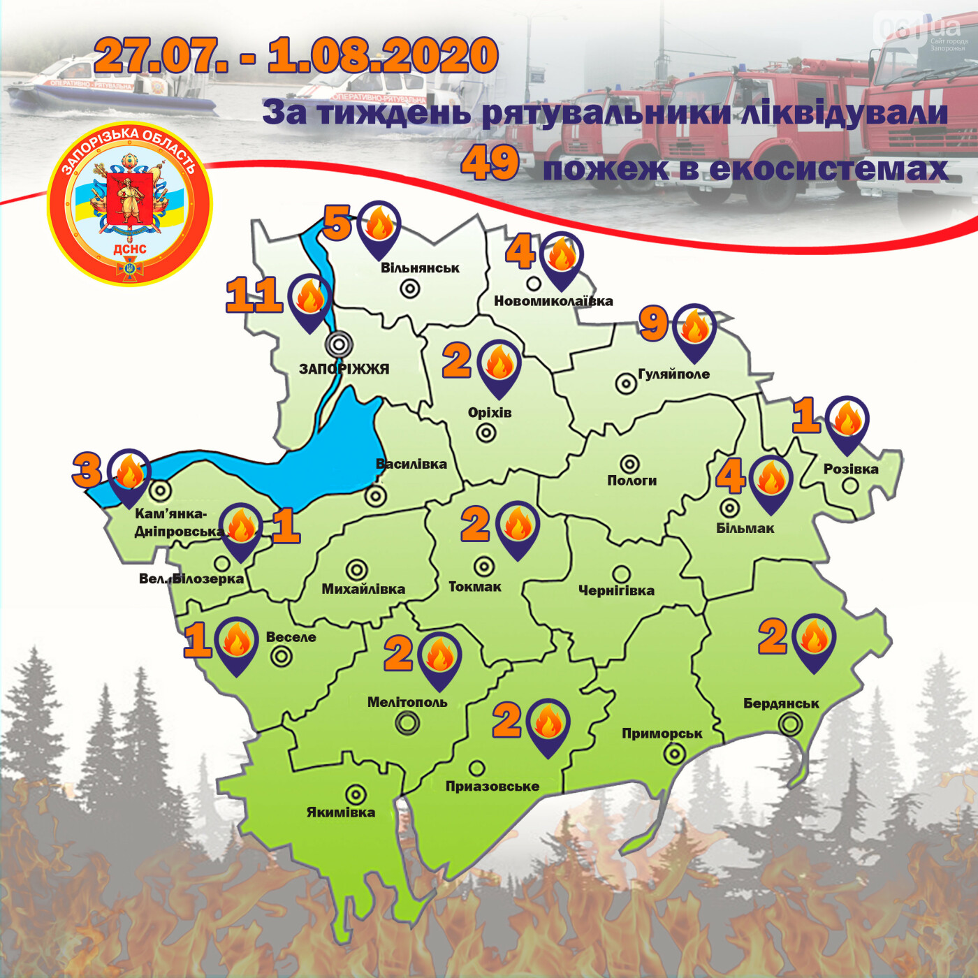 За неделю в Запорожской области пожары уничтожили экосистемы на площади в 15 футбольных полей, фото-1