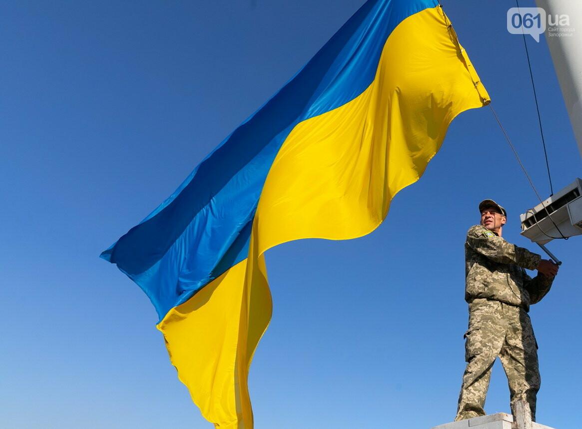 Впервые на Хортице развернули 100-метровый флаг Украины, - ФОТОРЕПОРТАЖ, фото-4