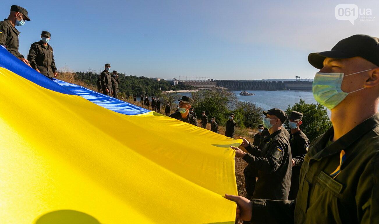 Впервые на Хортице развернули 100-метровый флаг Украины, - ФОТОРЕПОРТАЖ, фото-3