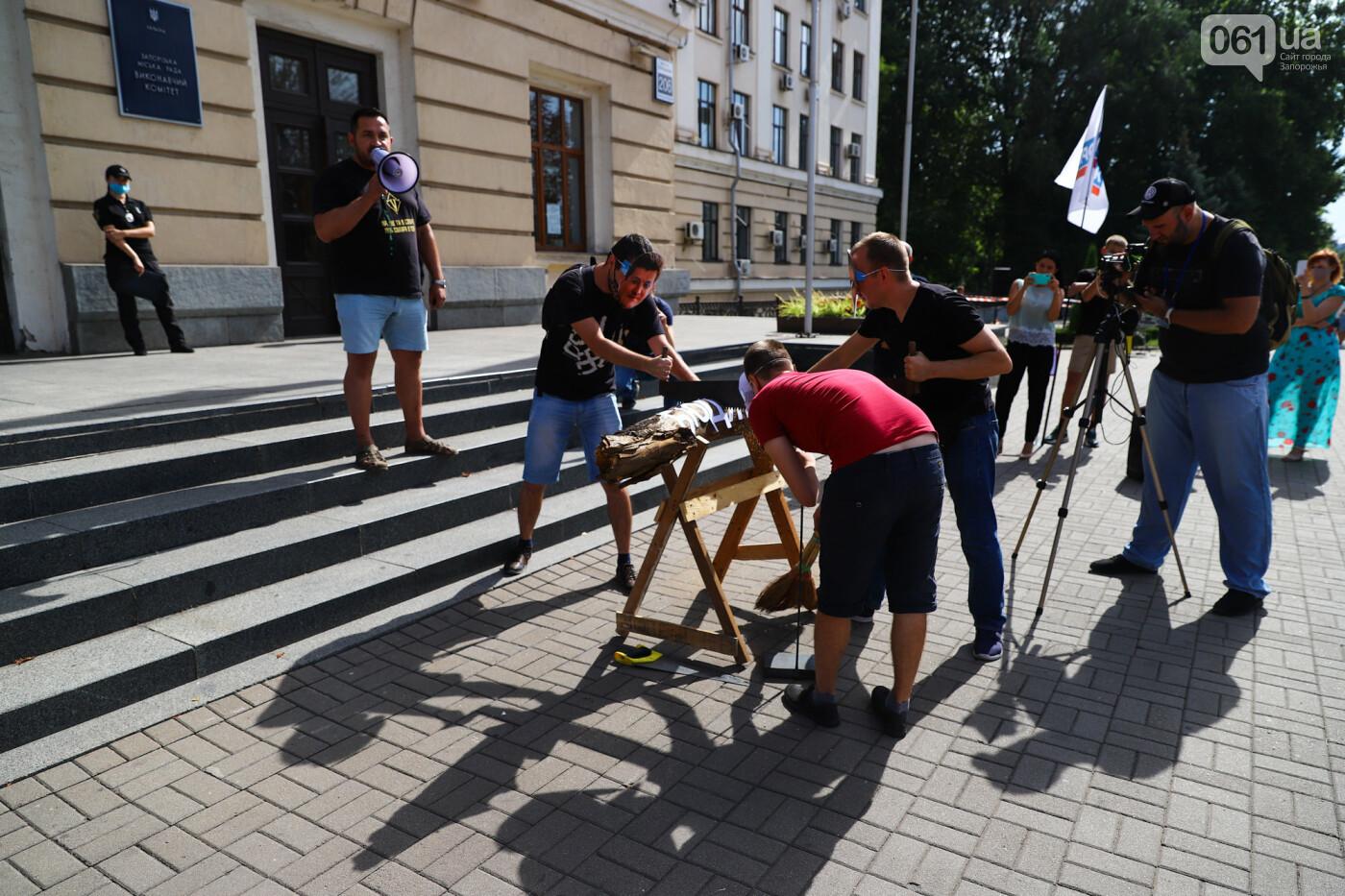 С пилами и в масках: в Запорожье возле мэрии активисты показали, как распиливают городской бюджет, - ФОТОРЕПОРТАЖ, фото-11