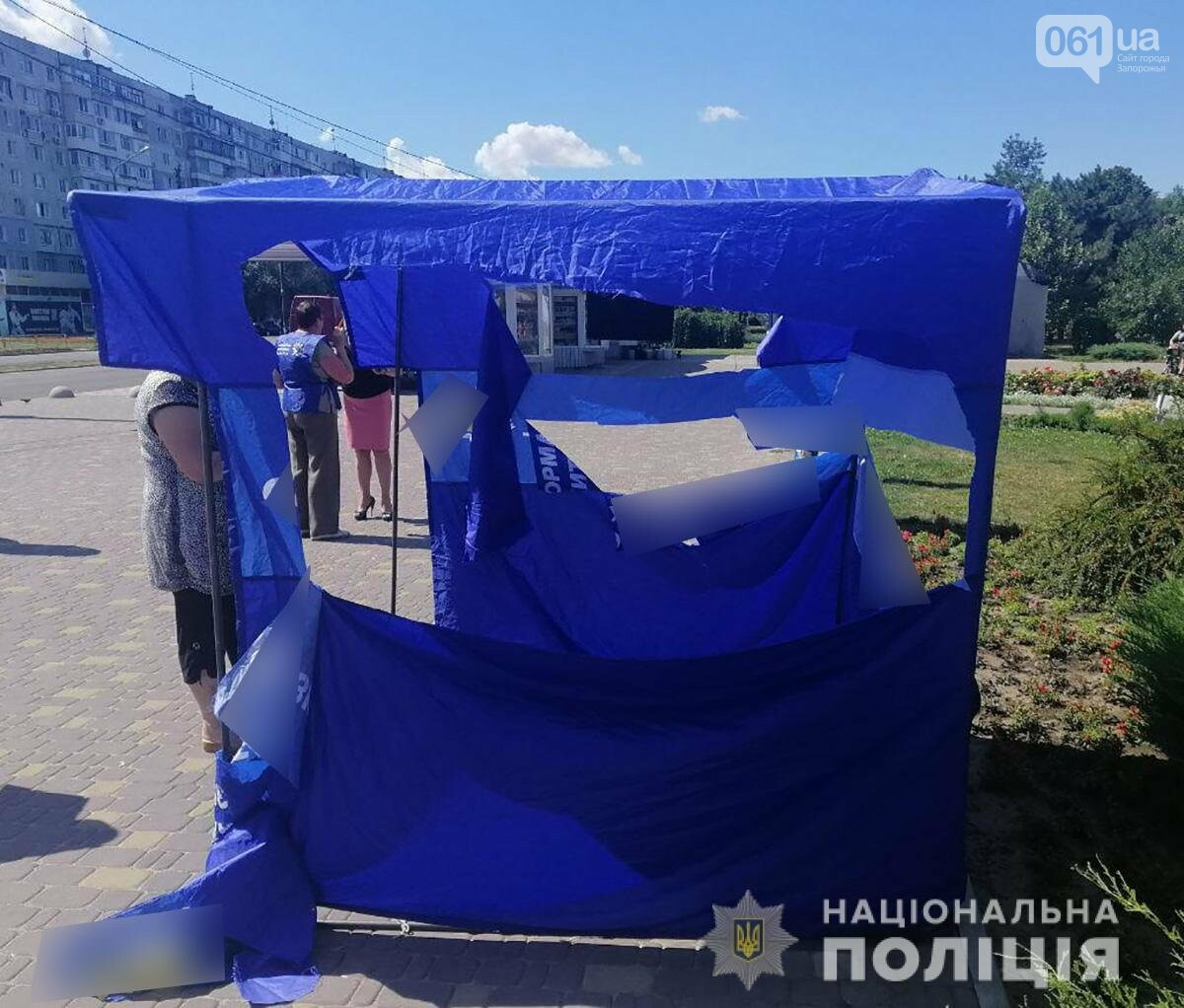 В Запорожье разгромили несколько агитпалаток одной из политсил - подозреваемых в хулиганстве задержали , фото-1