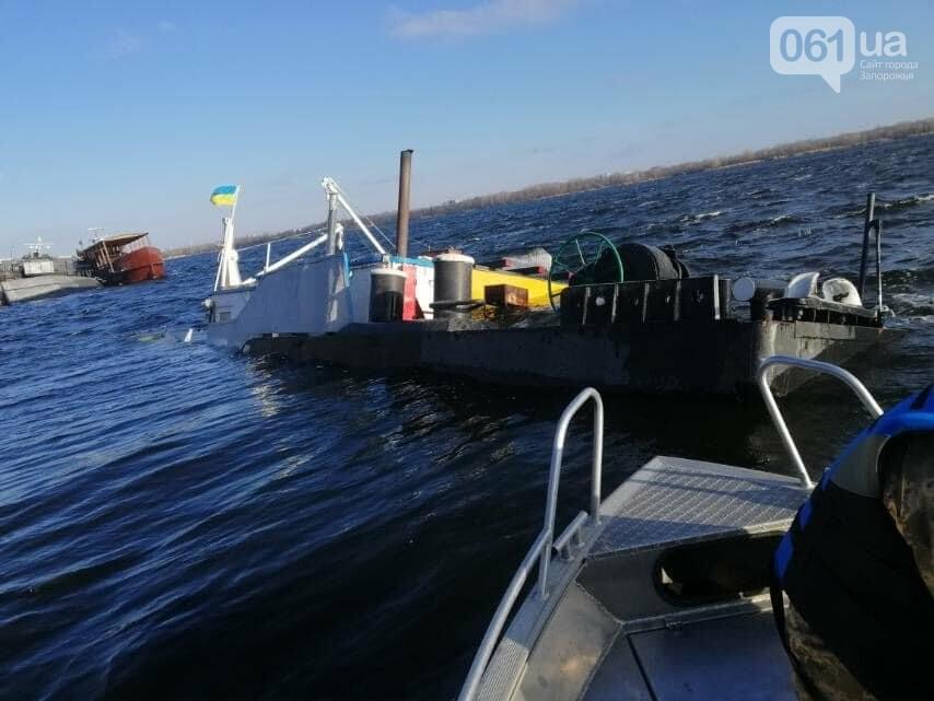 На затонувшей под Запорожьем барже было 1000 т щебня: экоинспекция отобрала пробы воды, - ФОТО, фото-1