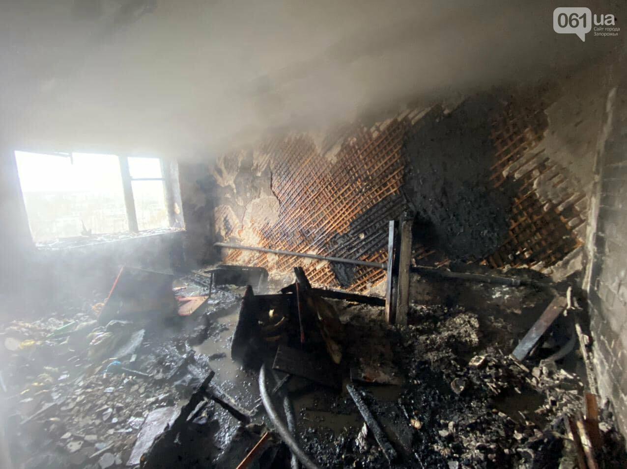 Пожар в запорожской девятиэтажке тушили 6 единиц техники и 22 спасателя, - ФОТО , фото-6