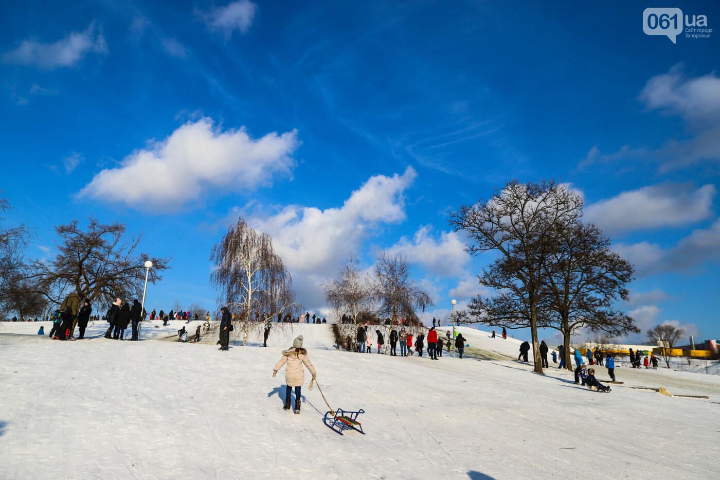 На санках, лыжах и сноуборде: запорожцы устроили массовое катание с горок в Вознесеновском парке, - ФОТОРЕПОРТАЖ, фото-34