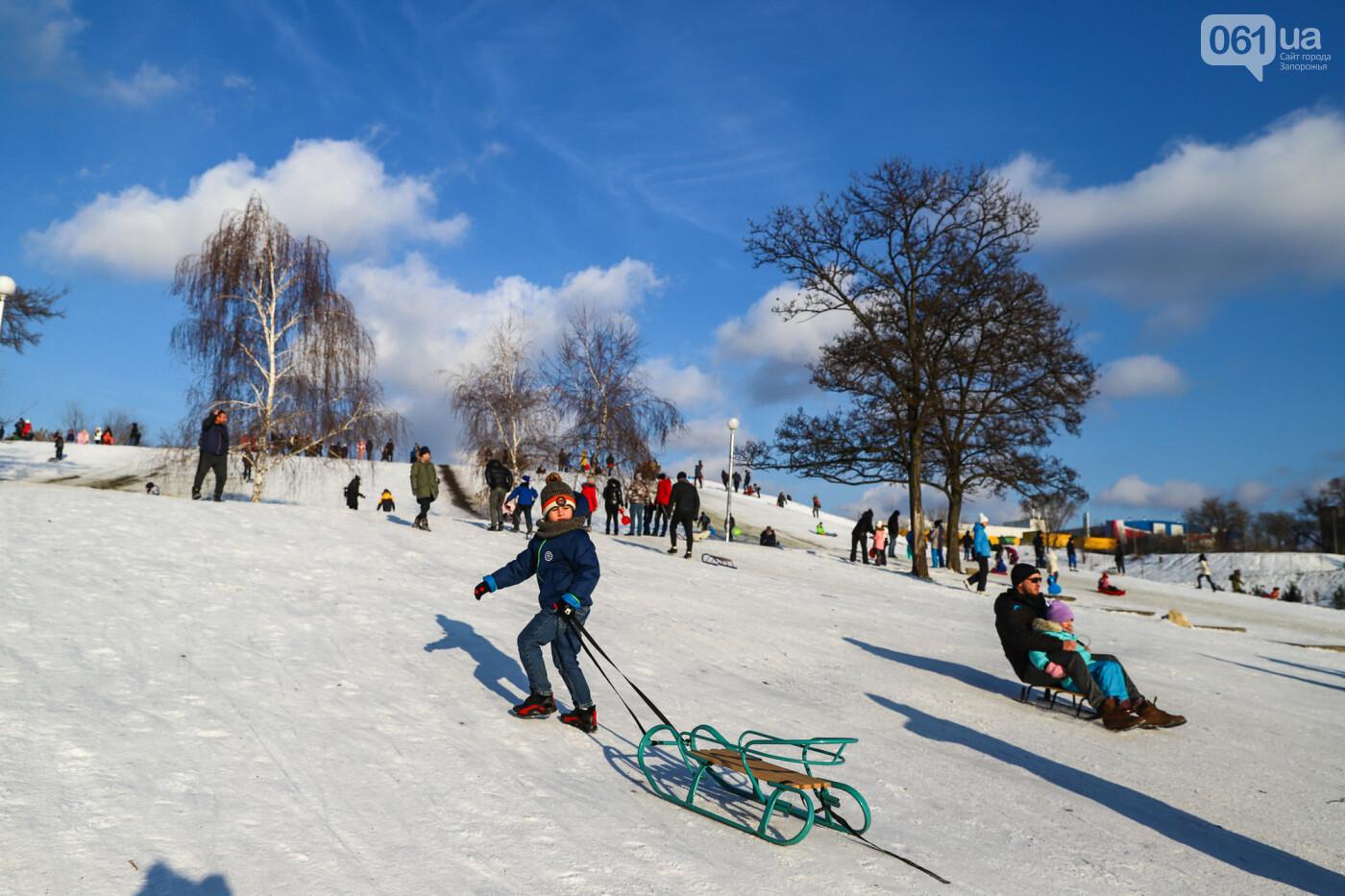 На санках, лыжах и сноуборде: запорожцы устроили массовое катание с горок в Вознесеновском парке, - ФОТОРЕПОРТАЖ, фото-35