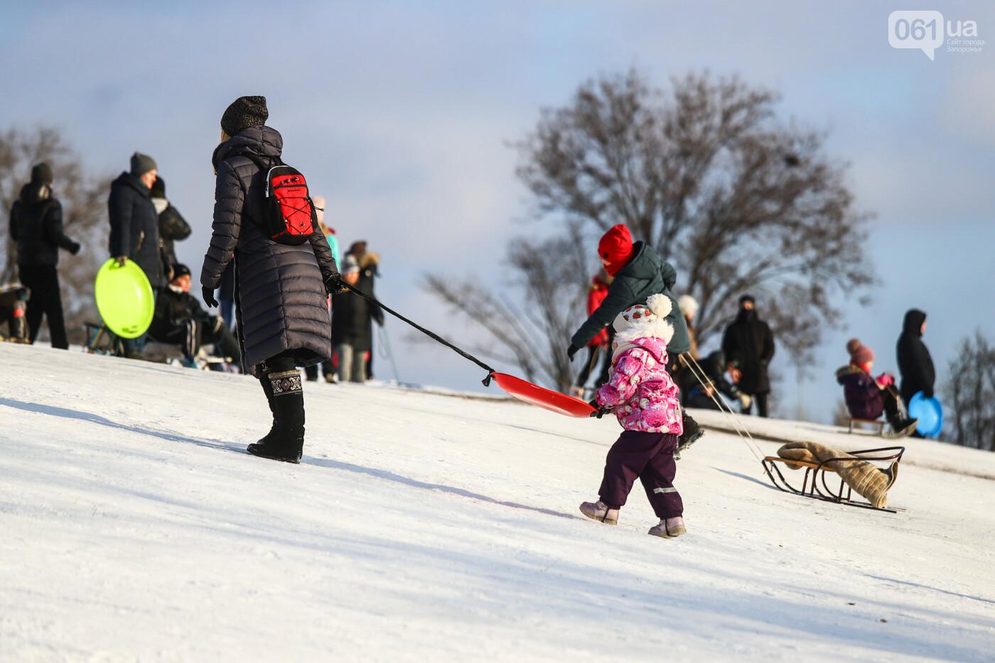На санках, лыжах и сноуборде: запорожцы устроили массовое катание с горок в Вознесеновском парке, - ФОТОРЕПОРТАЖ, фото-55