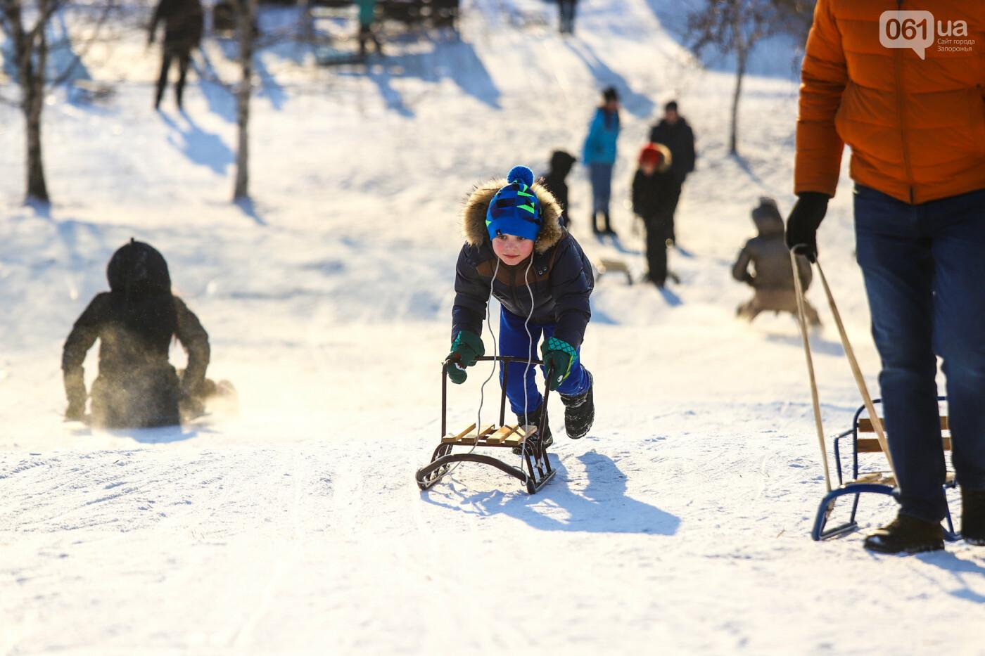 На санках, лыжах и сноуборде: запорожцы устроили массовое катание с горок в Вознесеновском парке, - ФОТОРЕПОРТАЖ, фото-73