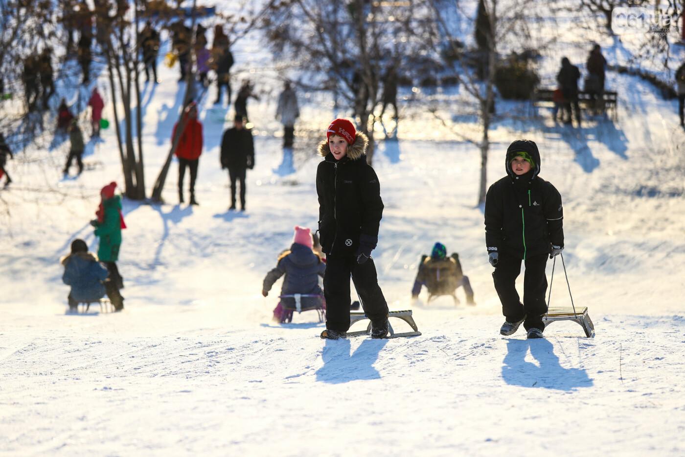 На санках, лыжах и сноуборде: запорожцы устроили массовое катание с горок в Вознесеновском парке, - ФОТОРЕПОРТАЖ, фото-41